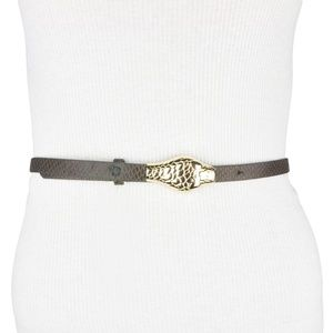 BCBG Brown Gold Faux Leather Snake Belt